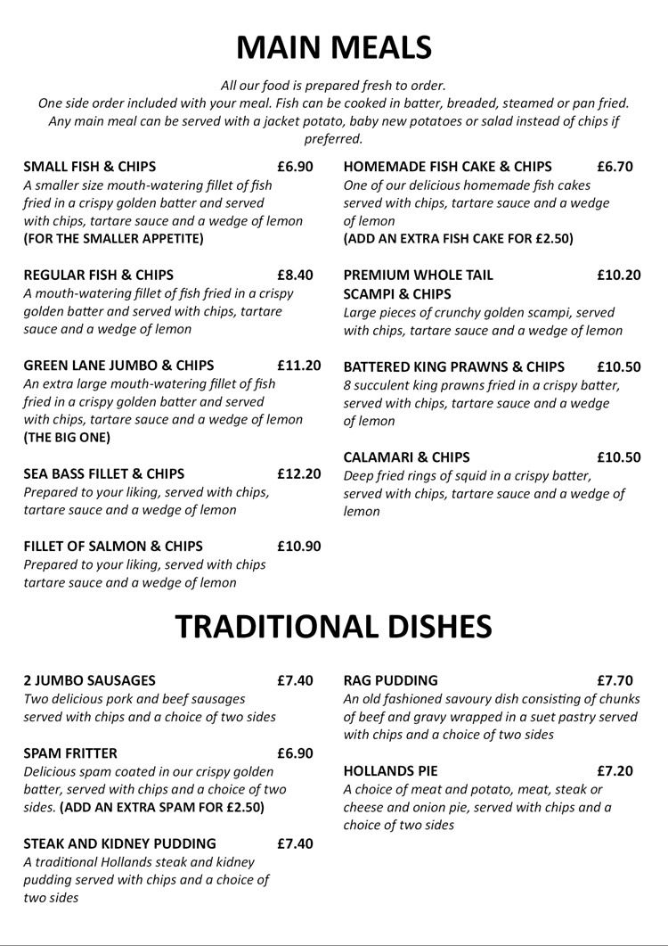 Green Lane Chippy Fish And Chip Restaurant And Takeaway
